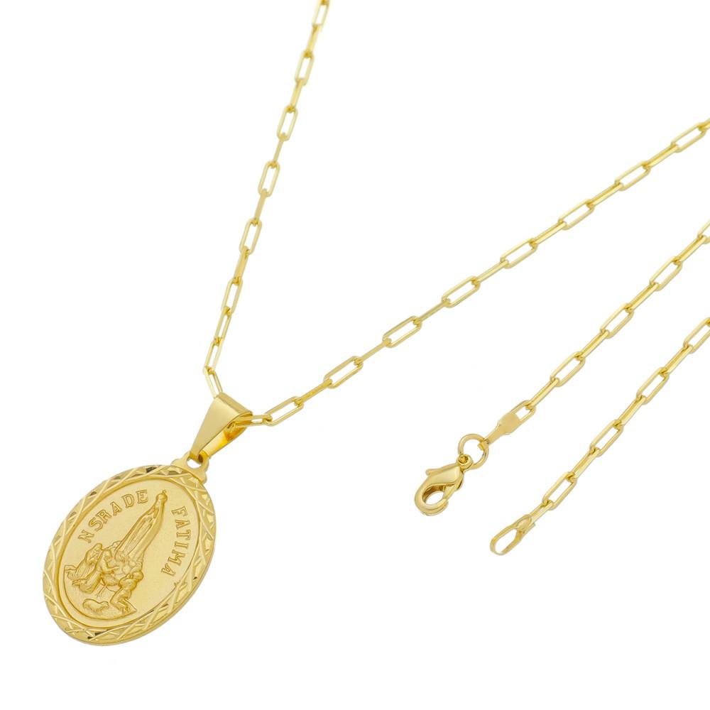 Medalha Nossa Senhora de Fátima com Corrente Francesa Longa Folheada a Ouro