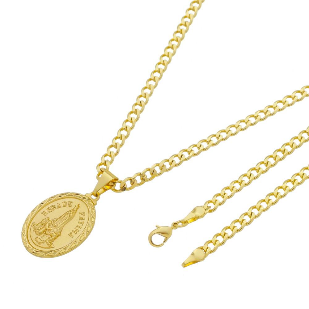 Medalha Nossa Senhora de Fátima com Corrente Grumet 5mm Folheada a Ouro