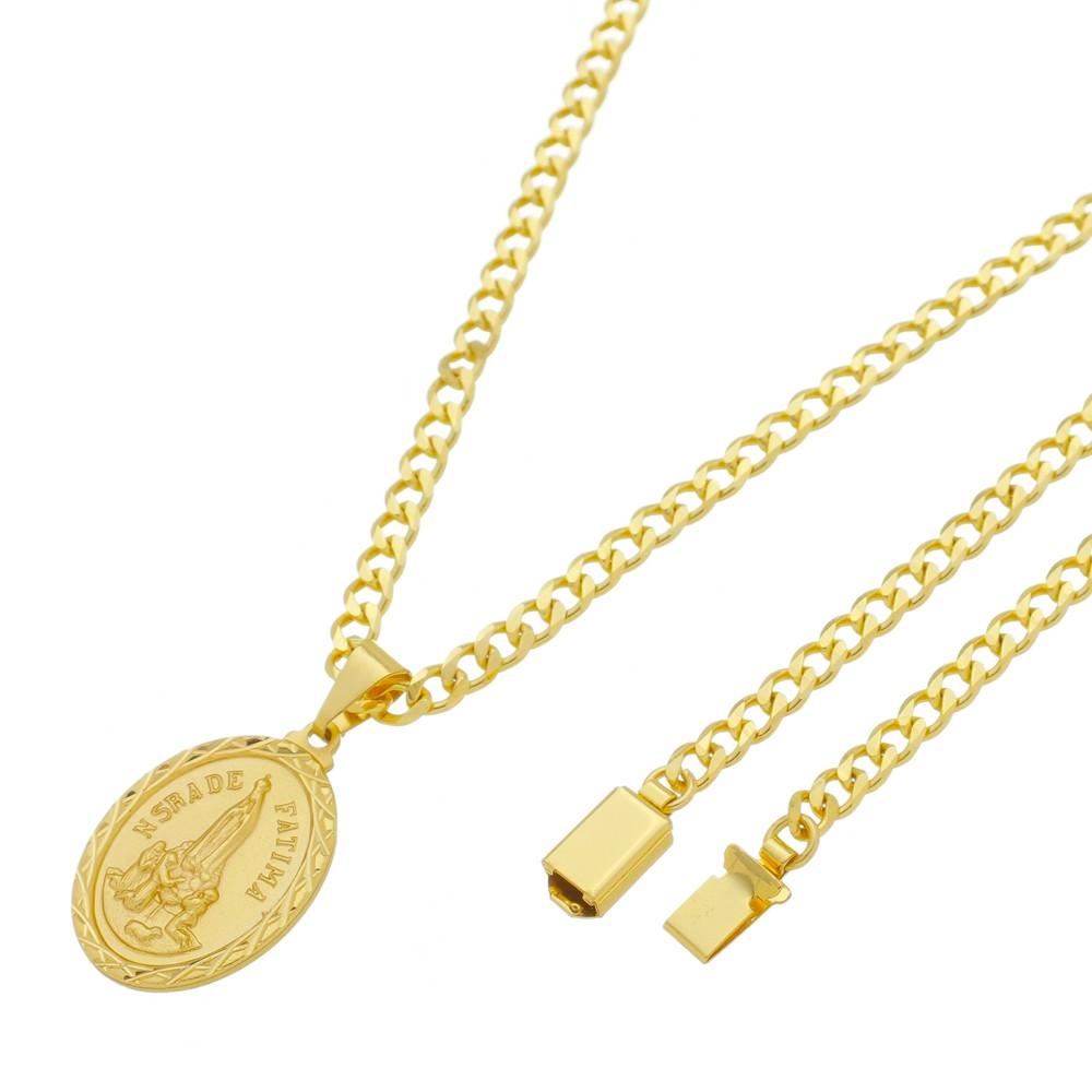 Medalha Nossa Senhora de Fátima com Corrente Grumet 5mm Gaveta Folheada a Ouro