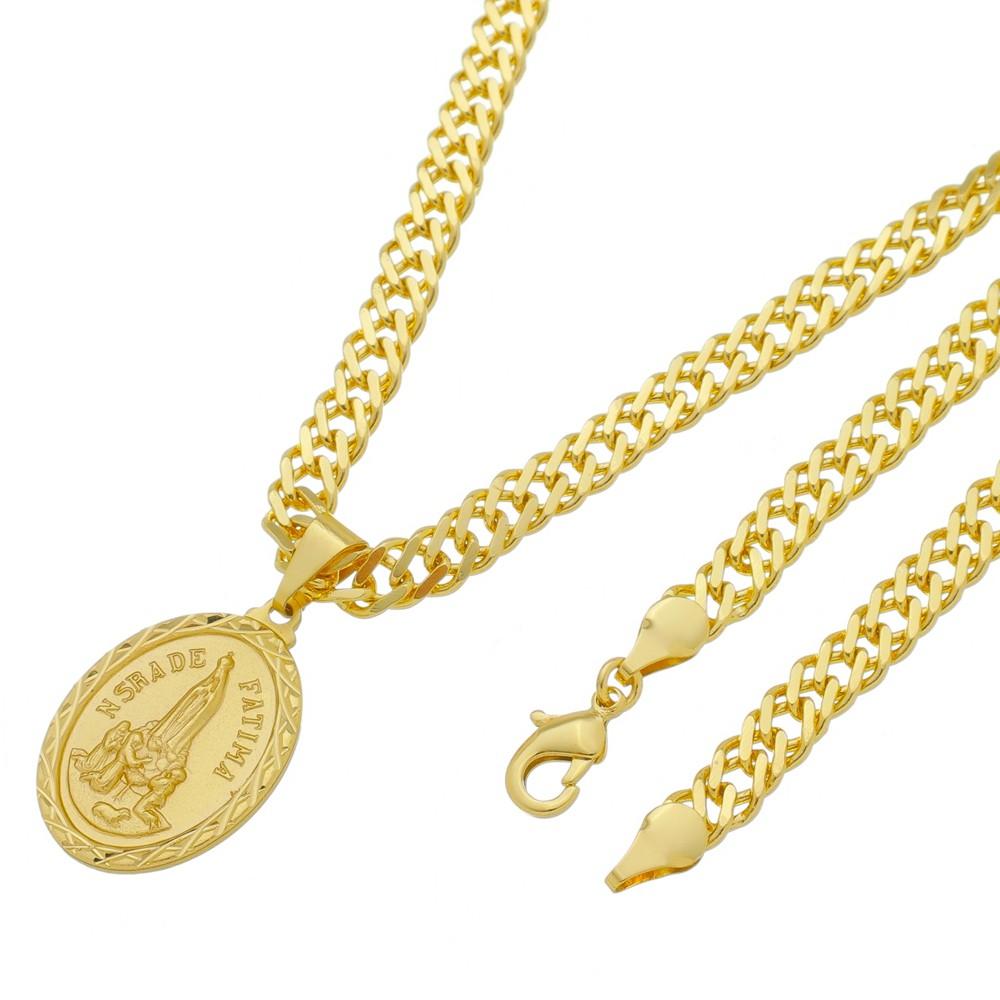 Medalha Nossa Senhora de Fatima com Corrente Grumet Dupla Grossa Folheada a Ouro