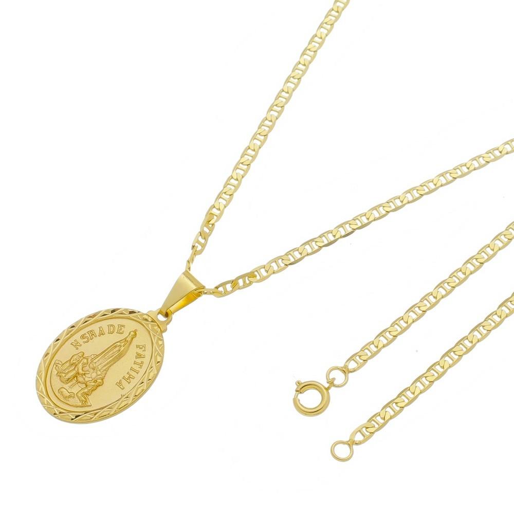 Medalha Nossa Senhora de Fátima com Corrente Italiana Folheada a Ouro