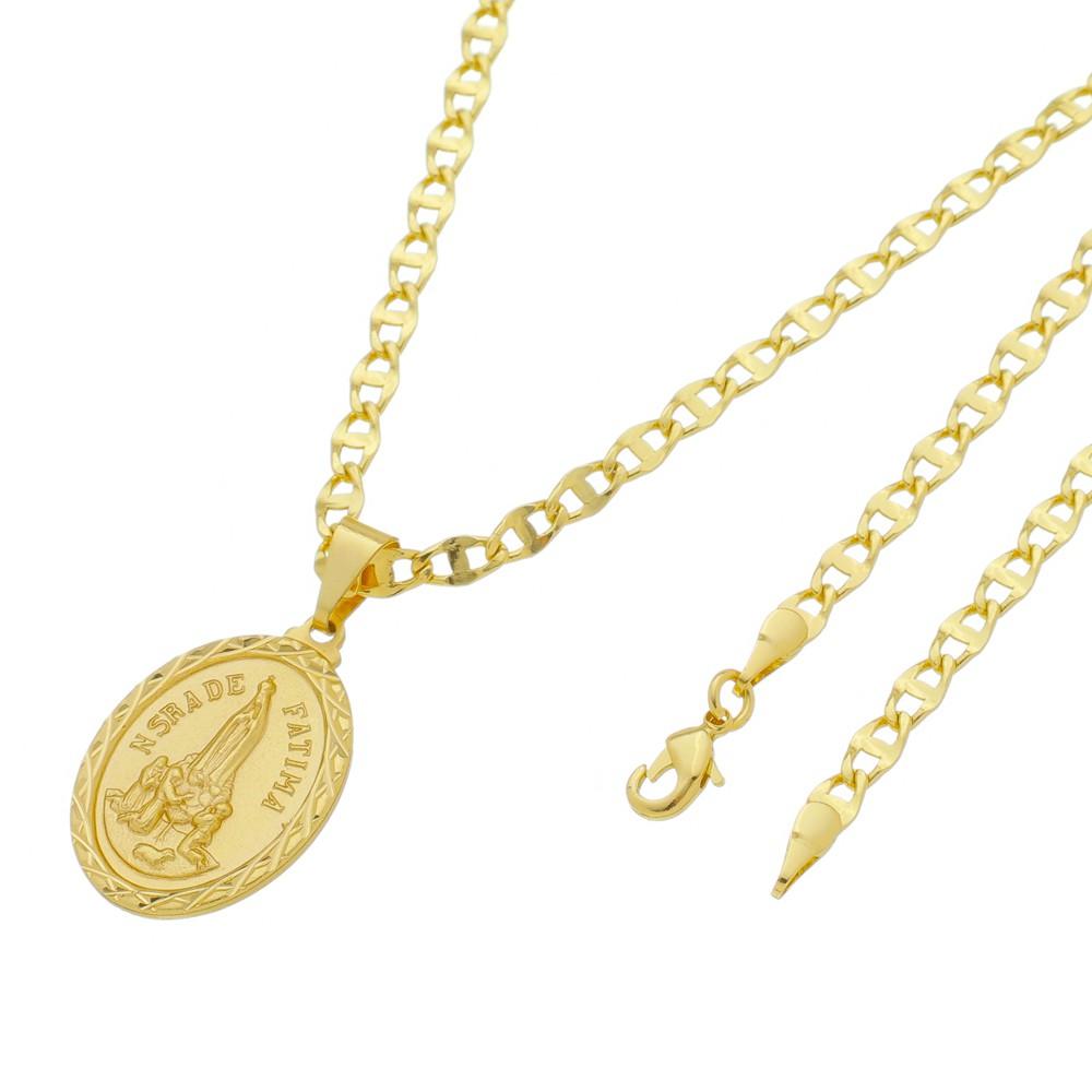 Medalha Nossa Senhora de Fatima com Corrente Mod.Italiana Folheada a Ouro