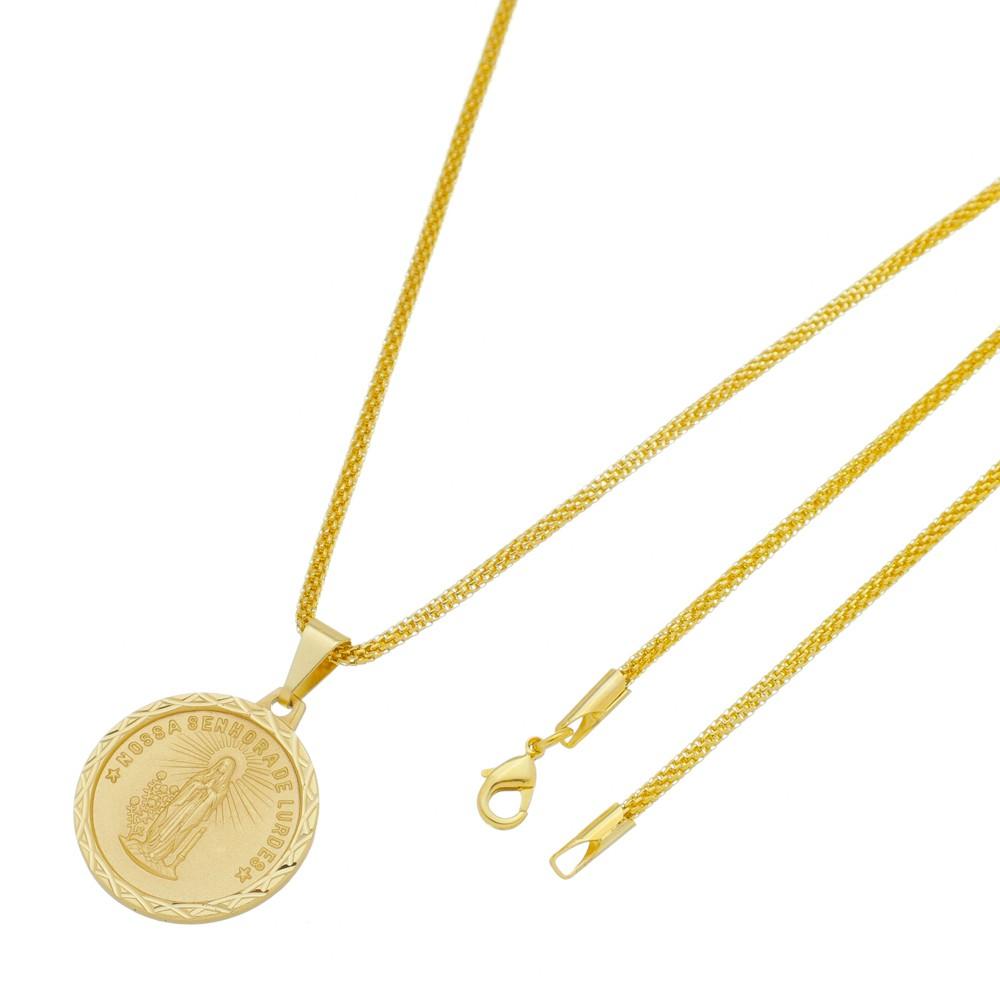 Medalha Nossa Senhora de Lurdes com Corrente Rede Folheada a Ouro