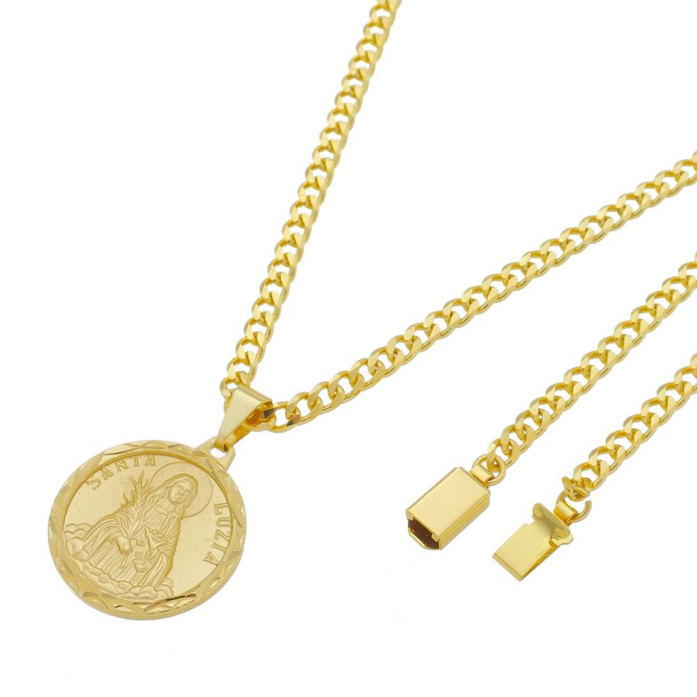 Medalha Santa Luzia com Corrente Grumet 5mm Gaveta