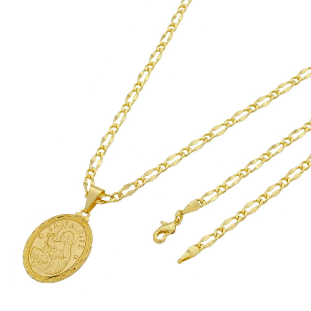 Medalha Santa Rita com Corrente Batida Lisa 1x1 Folheada a Ouro