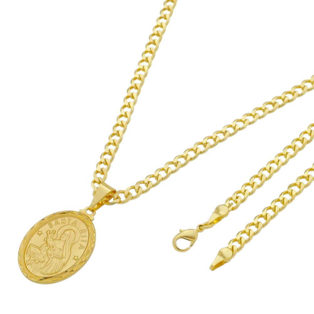 Medalha Santa Rita com Corrente Grumet 5mm Folheada a Ouro