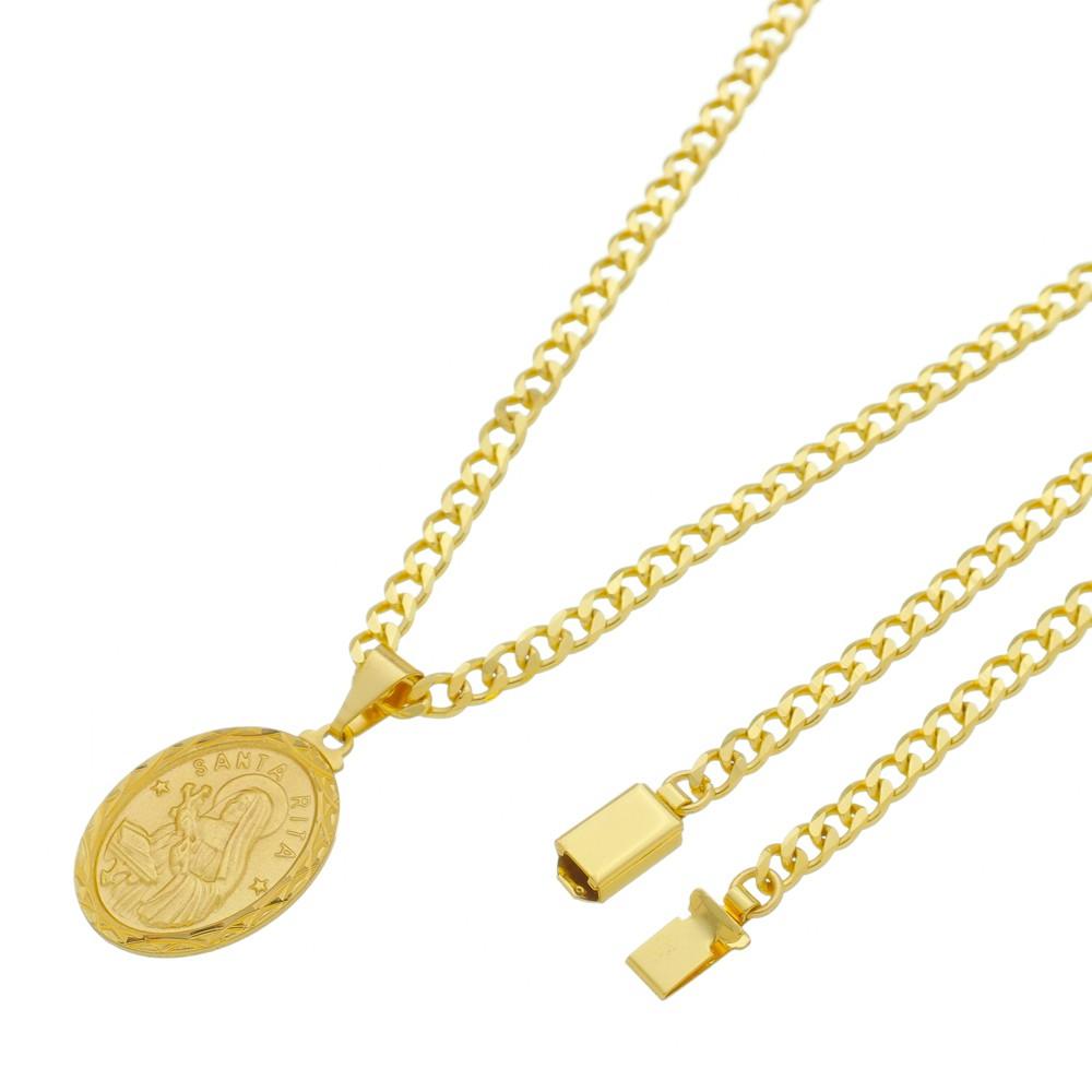 Medalha Santa Rita com Corrente Grumet 5mm Gaveta Folheada a Ouro