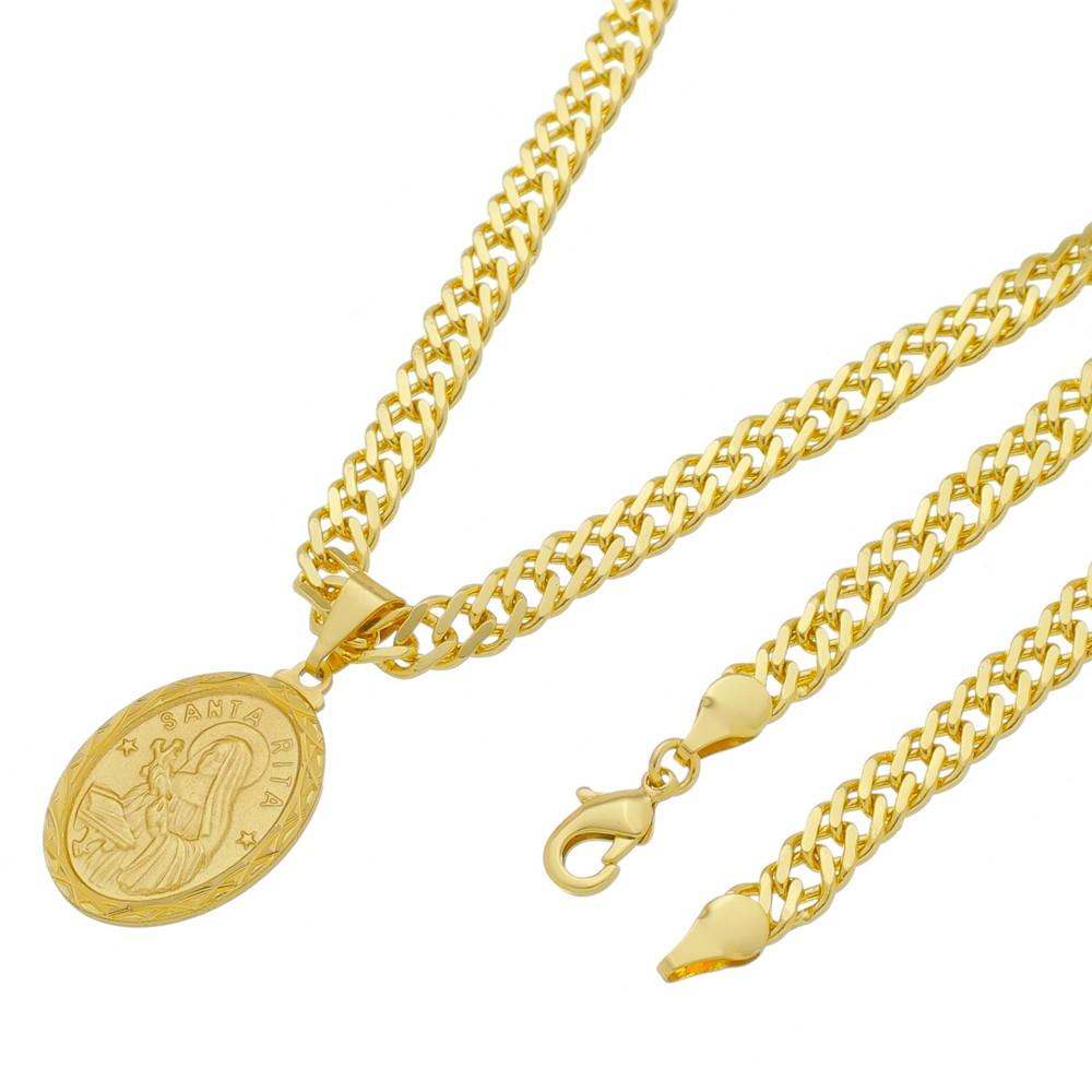 Medalha Santa Rita com Corrente Grumet Dupla Grossa Folheada a Ouro