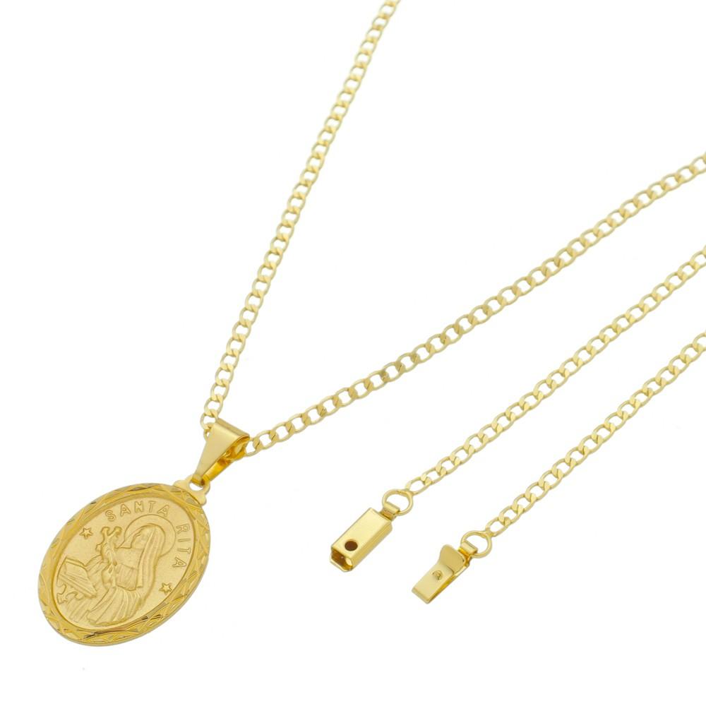Medalha Santa Rita com Corrente Grumet Gaveta Folheada a Ouro
