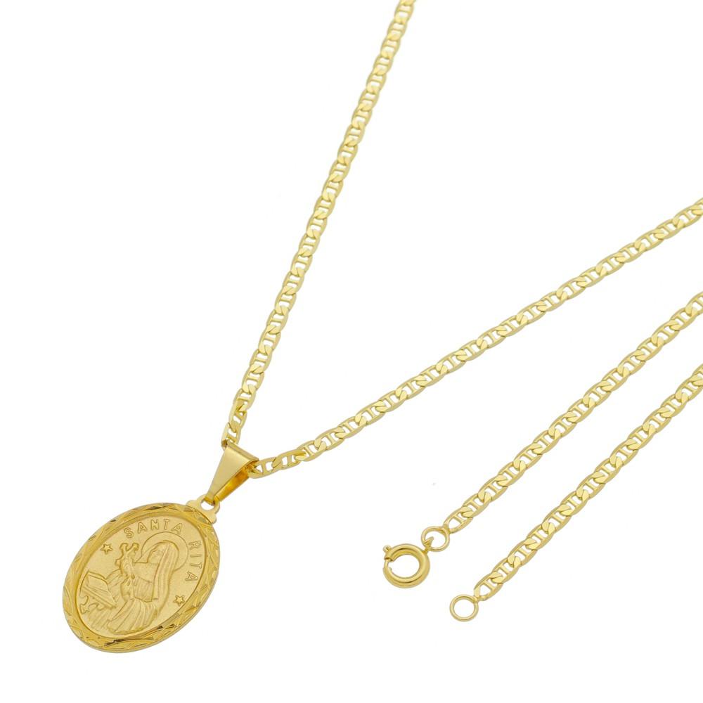 Medalha Santa Rita com Corrente Italiana Fina Folheada a Ouro