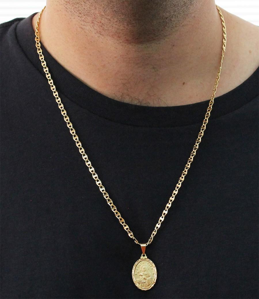 Medalha Santa Rita com Corrente Mod.Italiana Folheada a Ouro