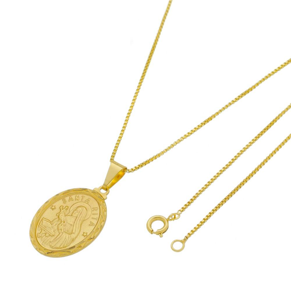 Medalha Santa Rita com Corrente Veneziana Folheada a Ouro