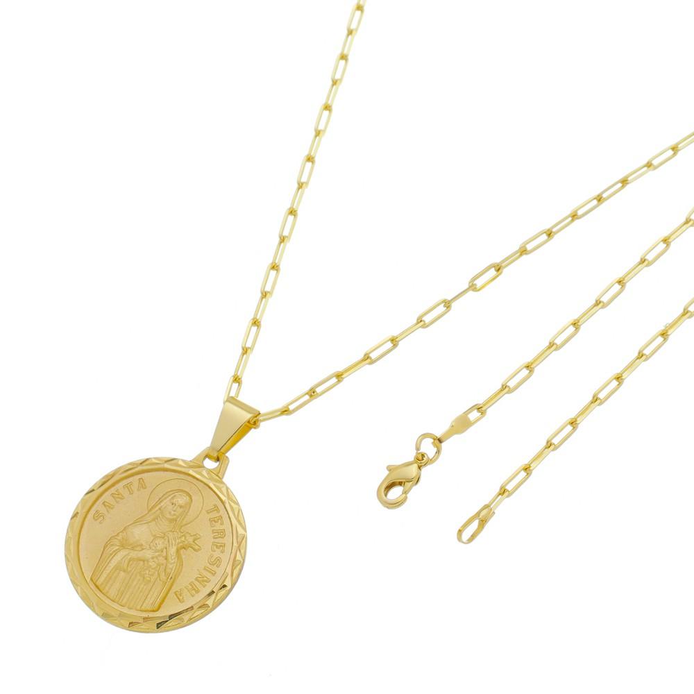 Medalha Santa Terezinha com Corrente Francesa Longa Folheada a Ouro