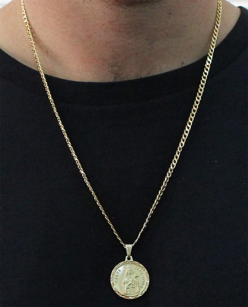 Medalha Santa Terezinha com Corrente Grumet 5mm Folheada a Ouro