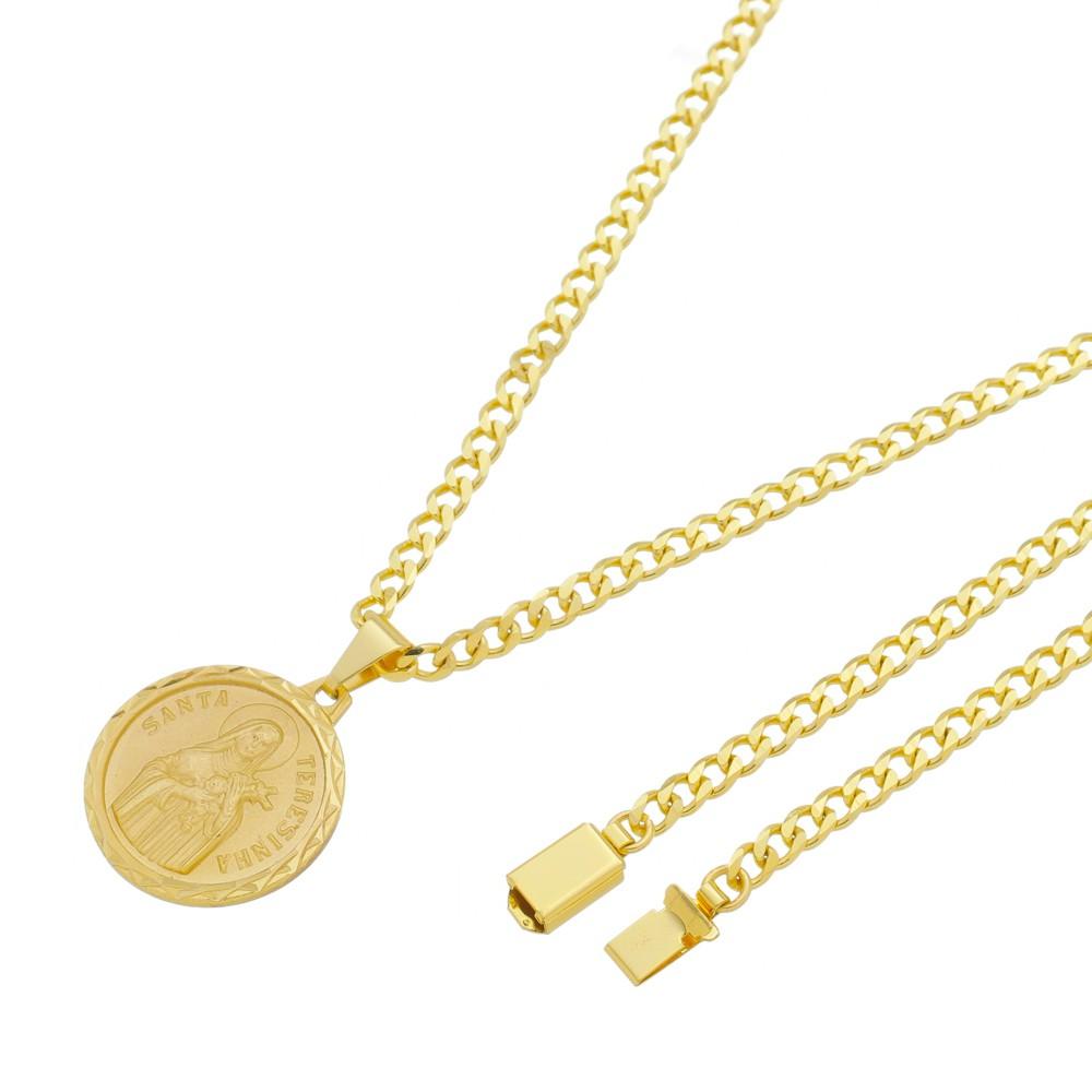 Medalha Santa Terezinha com Corrente Grumet 5mm Gaveta Folheada a Ouro