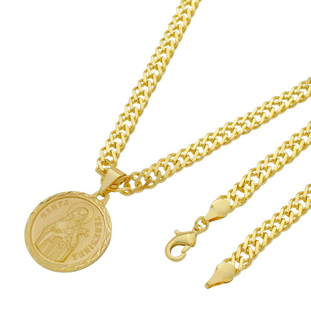 Medalha Santa Terezinha com Corrente Grumet Dupla Grossa Folheada a Ouro