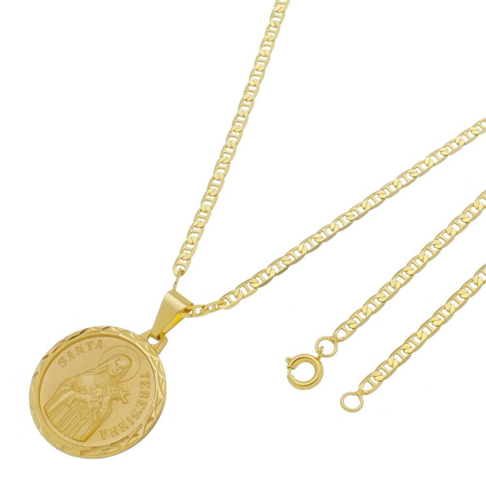 Medalha Santa Terezinha com Corrente Italiana Folheada a Ouro