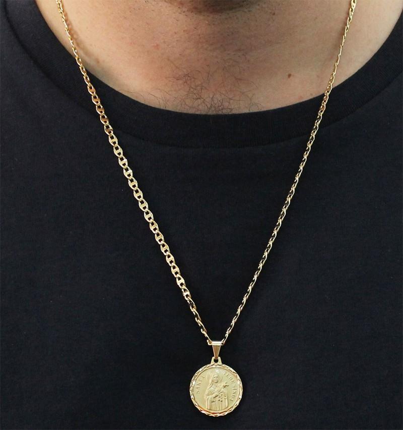 Medalha Santa Terezinha com Corrente Mod. Italiana Folheada a Ouro