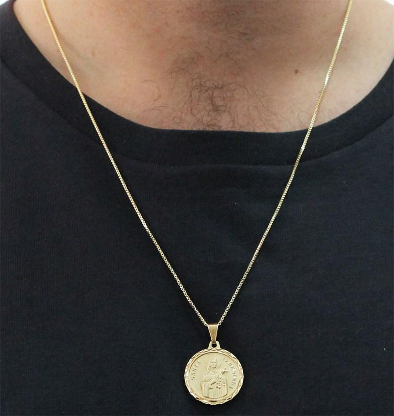 Medalha Santa Terezinha com Corrente Veneziana Folheada a Ouro