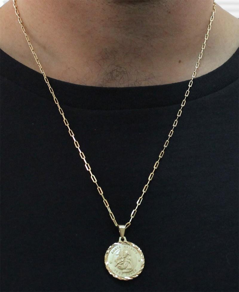 Medalha Santo Antonio com Corrente Francesa Longa Folheada a Ouro