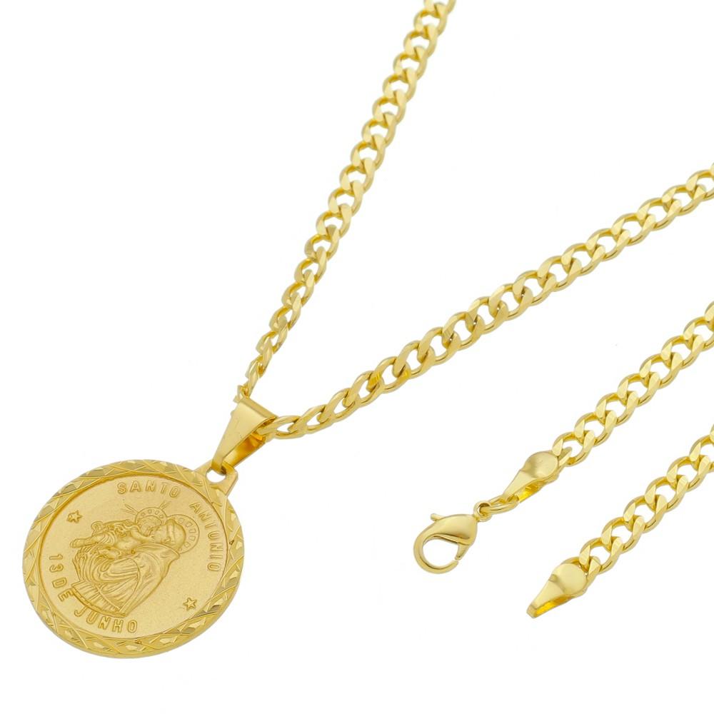 Medalha Santo Antonio com Corrente Grumet 5mm Folheada a Ouro