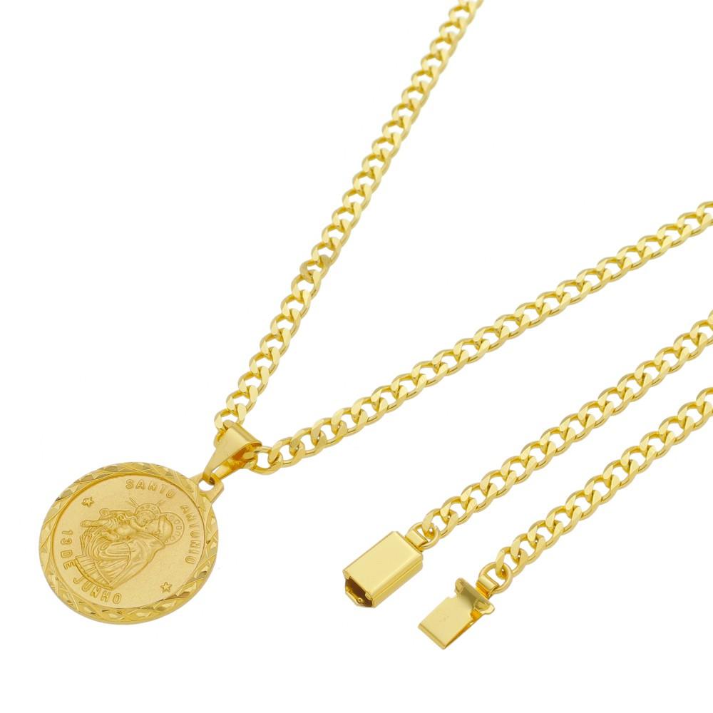 Medalha Santo Antonio com Corrente Grumet 5mm Gaveta Folheada a Ouro
