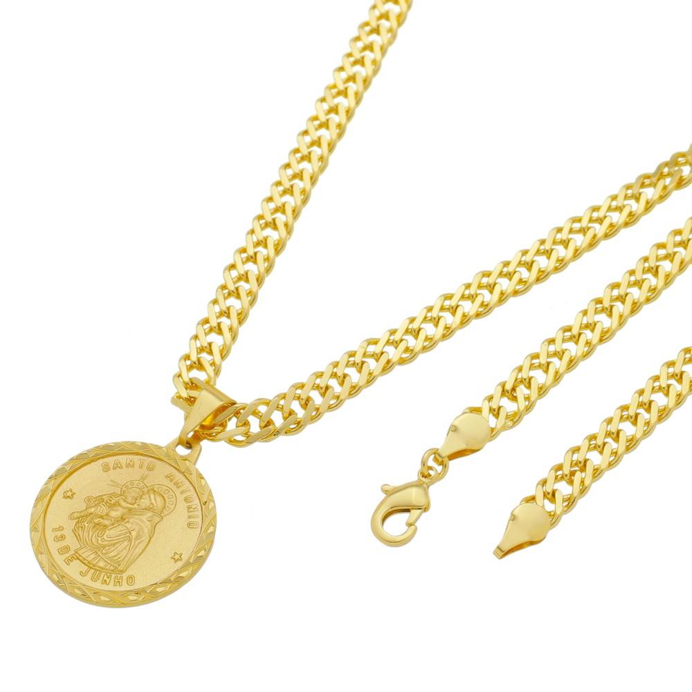 Medalha Santo Antônio com Corrente Grumet Dupla Grossa Folheada a Ouro