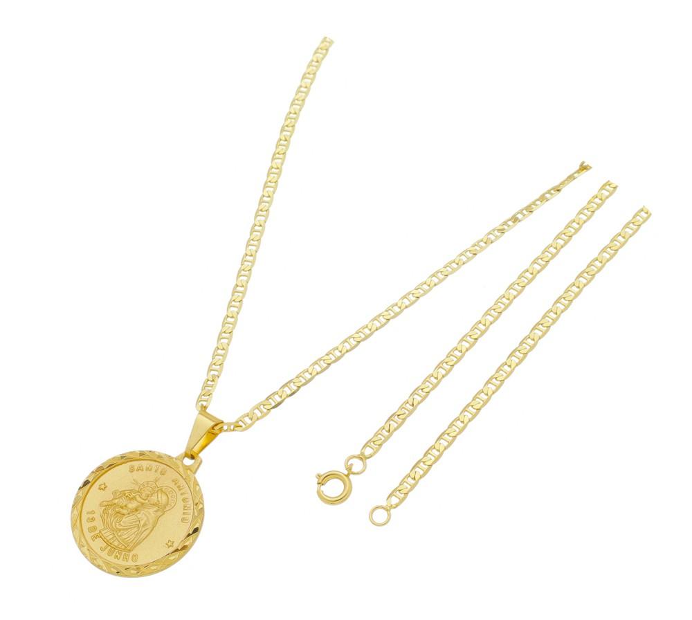 Medalha Santo Antônio com Corrente Italiana Fina Folheada a Ouro
