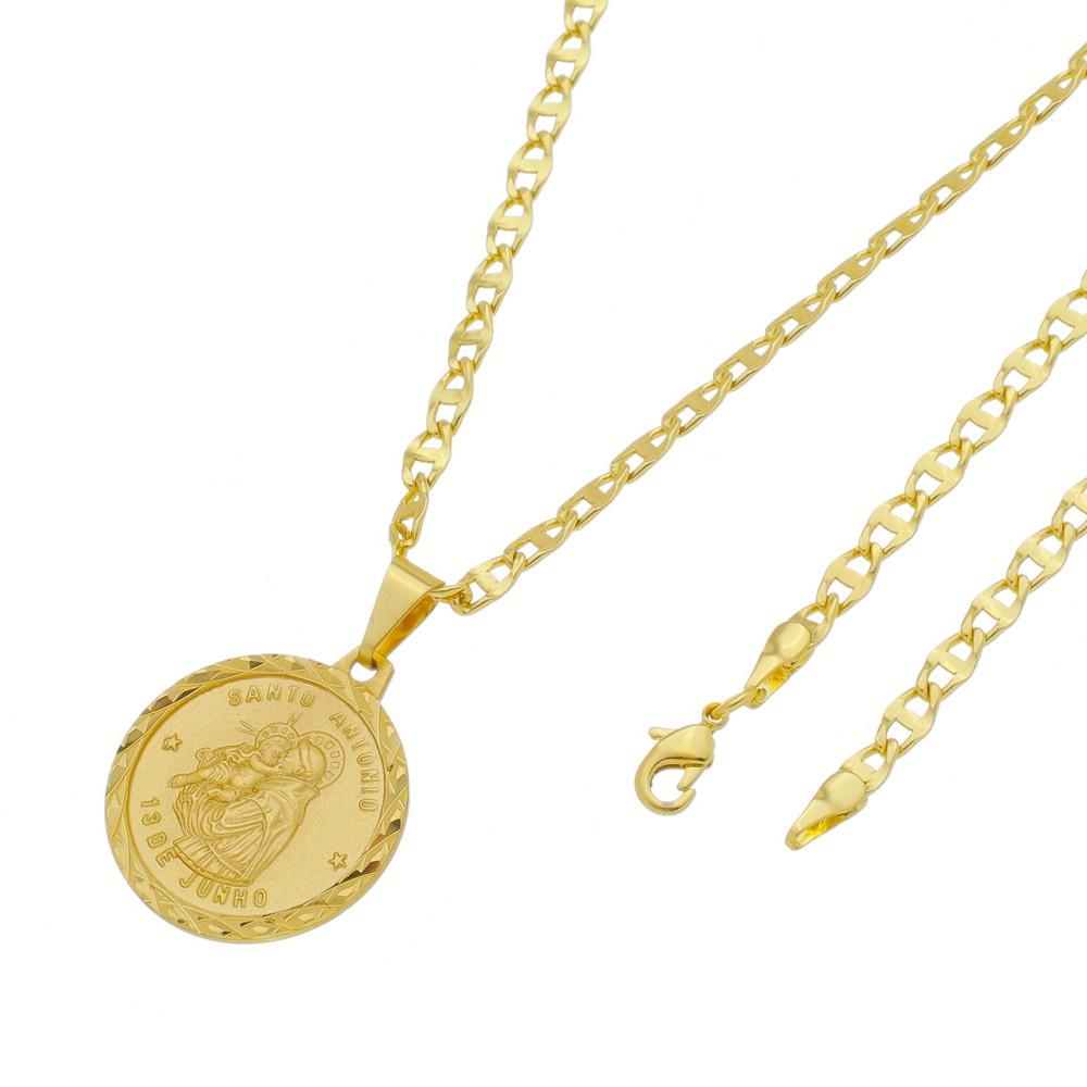 Medalha Santo Antônio com Corrente Mod. Italiana Folheada a Ouro