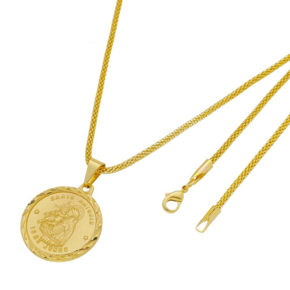 Medalha Santo Antônio com Corrente Rede Folheada a Ouro