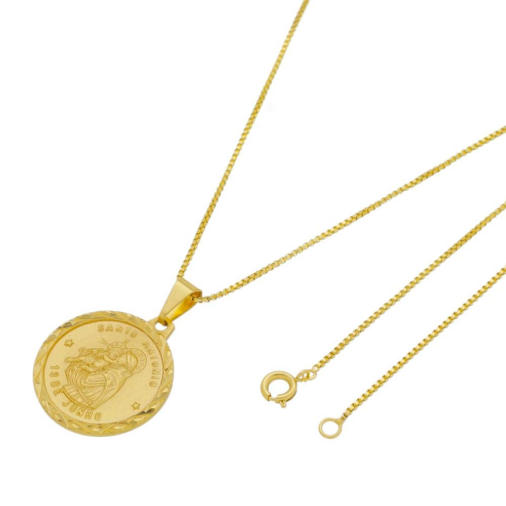Medalha Santo Antônio com Corrente Veneziana Folheada a Ouro