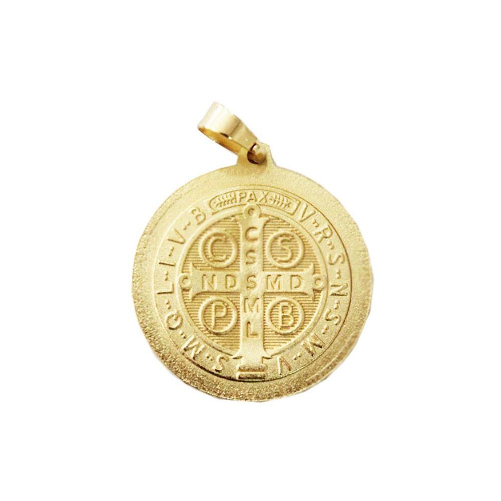 Medalha São Bento Com Corrente Elo Baiano 2mm e 60cm Folheado a Ouro 18k