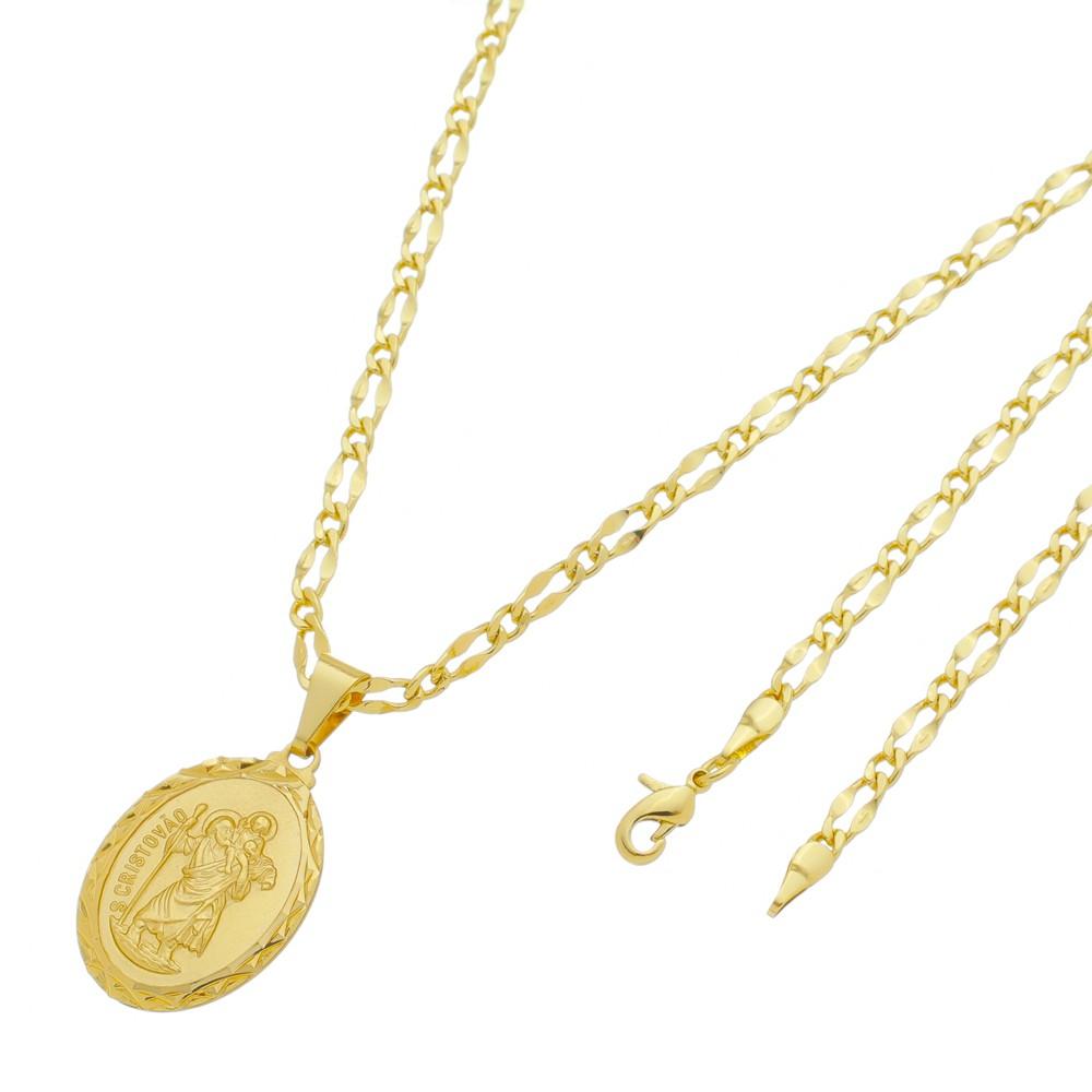 Medalha São Cristovão com Corrente Batida 1x1 Folheada a Ouro