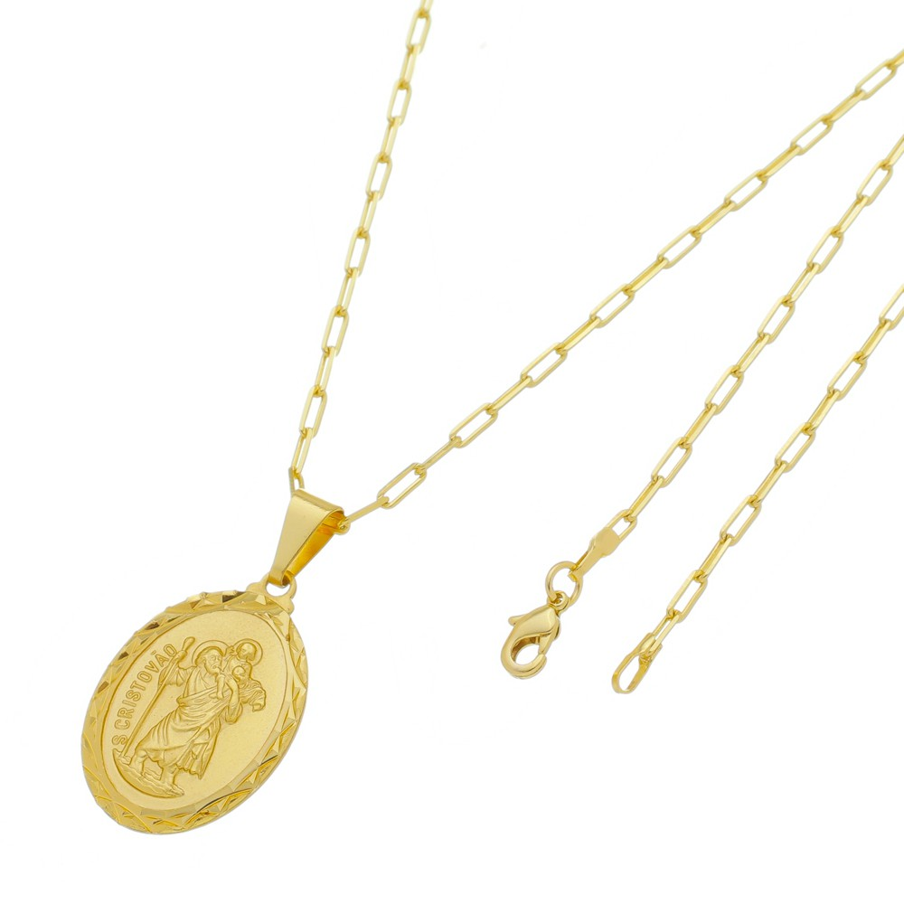 Medalha São Cristovão com Corrente Francesa Longa Folheada a Ouro
