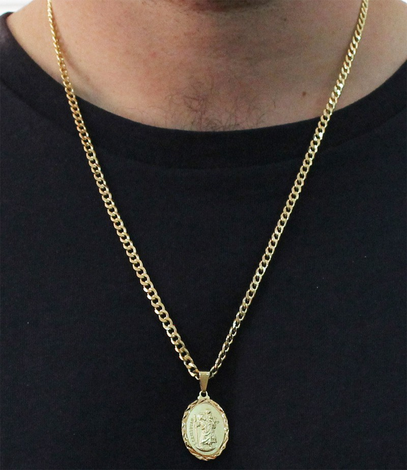 Medalha São Cristovão com Corrente Grumet 5mm Folheada a Ouro