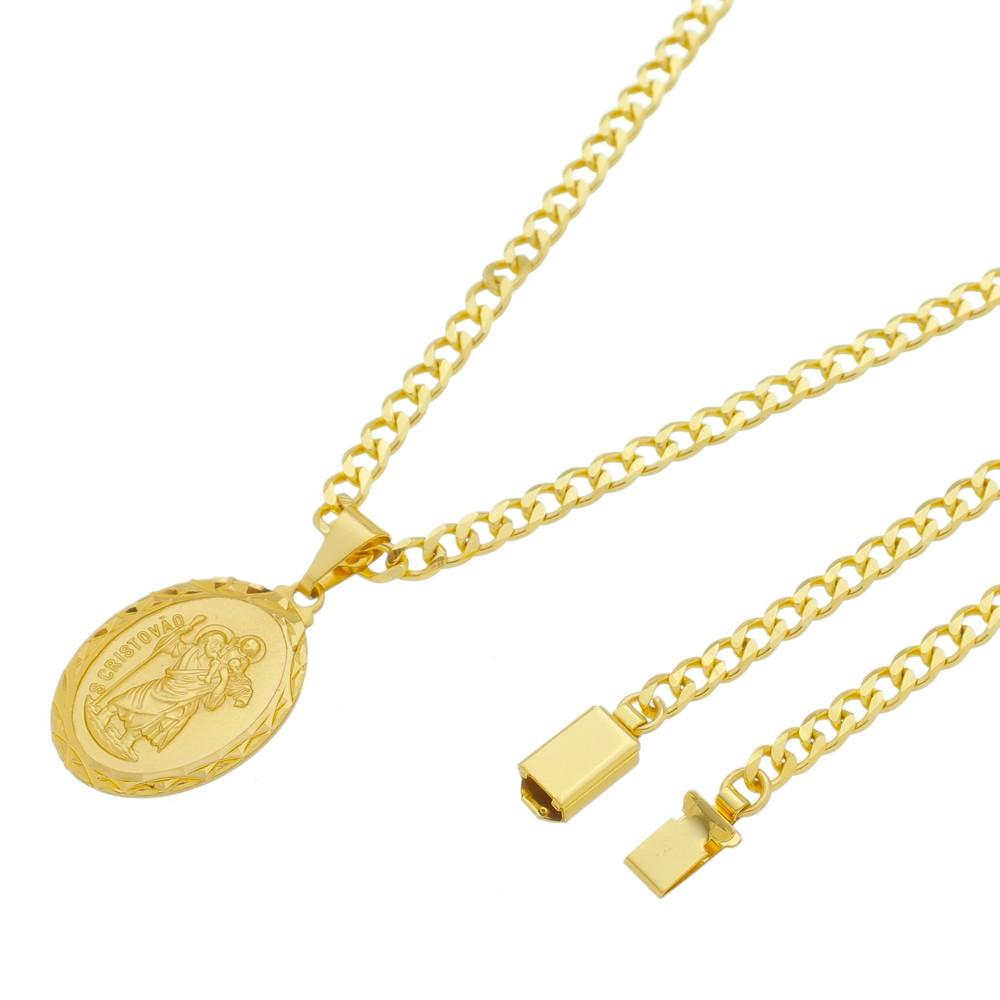 Medalha São Cristovão com Corrente Grumet 5mm Gaveta Folheada a Ouro