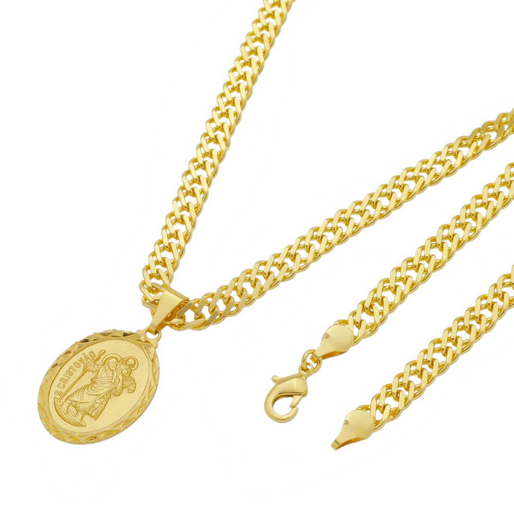 Medalha São Cristovão com Corrente Grumet Dupla Grossa Folheada a Ouro
