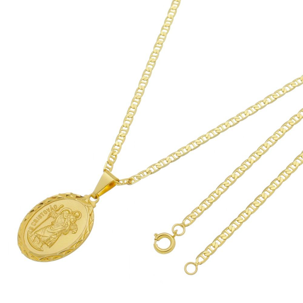 Medalha São Cristovão com Corrente Italiana Folheada a Ouro