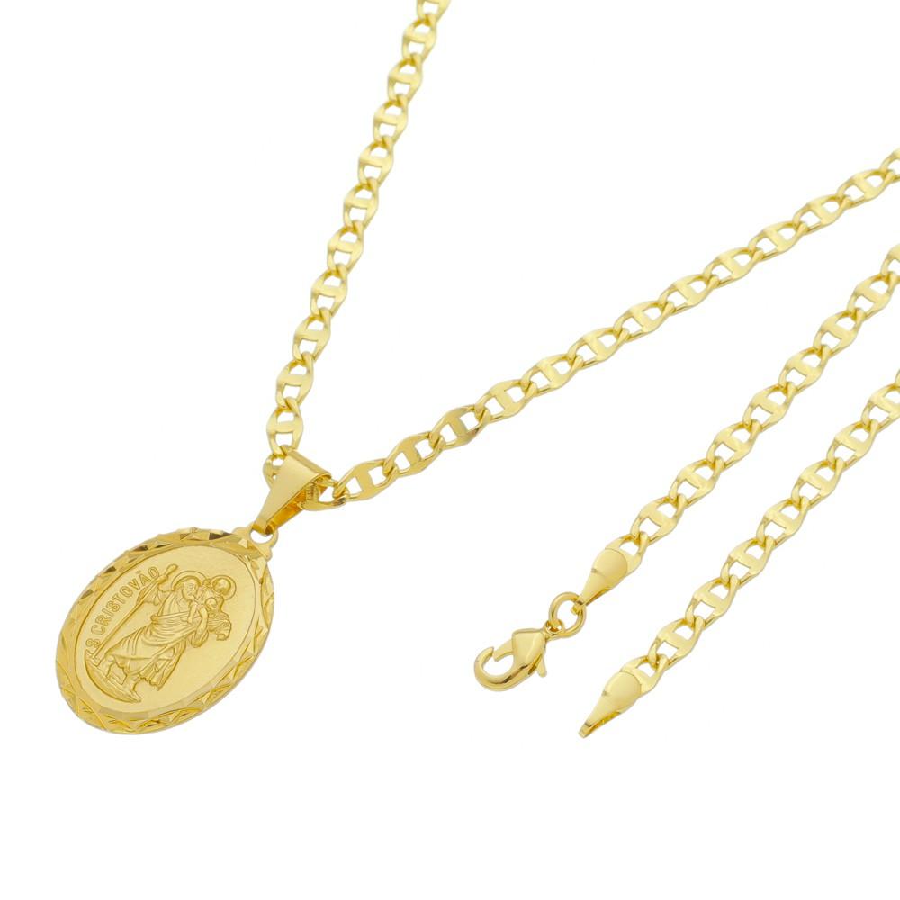 Medalha São Cristovão com Corrente Mod. Italiana Folheada a Ouro