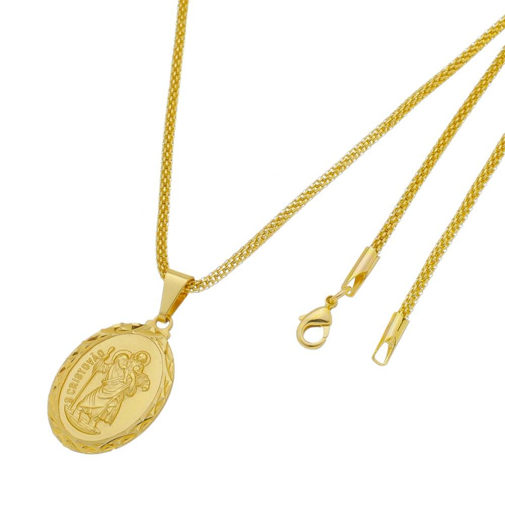 Medalha São Cristovão com Corrente Rede Folheada a Ouro