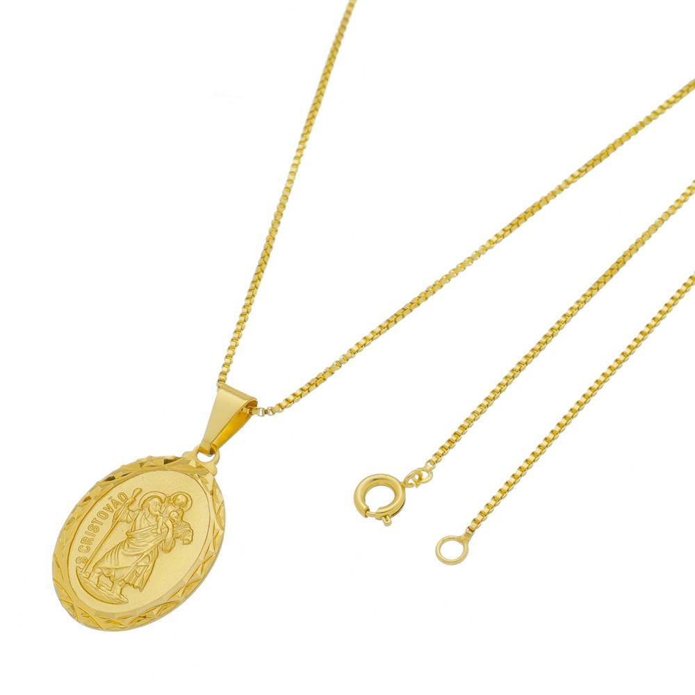 Medalha São Cristovão com Corrente Veneziana Folheada a Ouro
