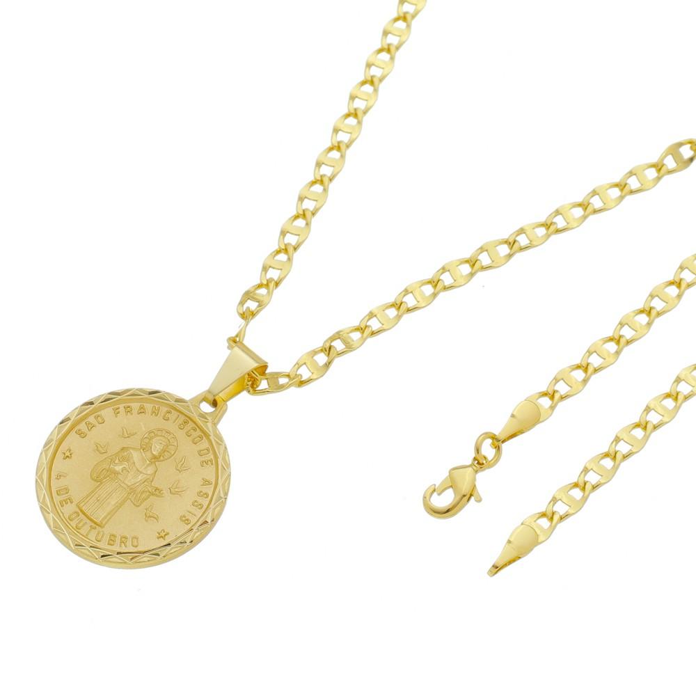 Medalha São Francisco com Corrente Mod.Italiana Folheada a Ouro