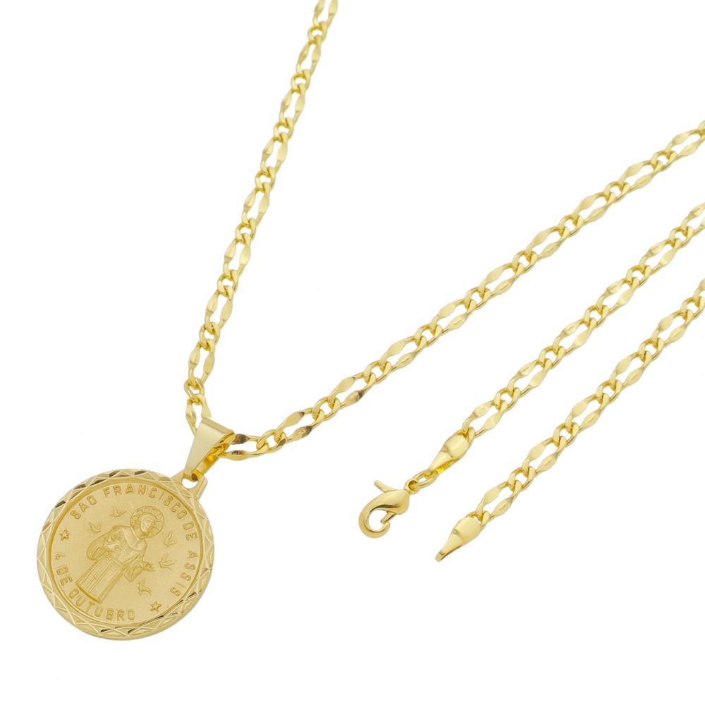 Medalha São Francisco de Assis com Corrente Batida 1x1 Folheada a Ouro
