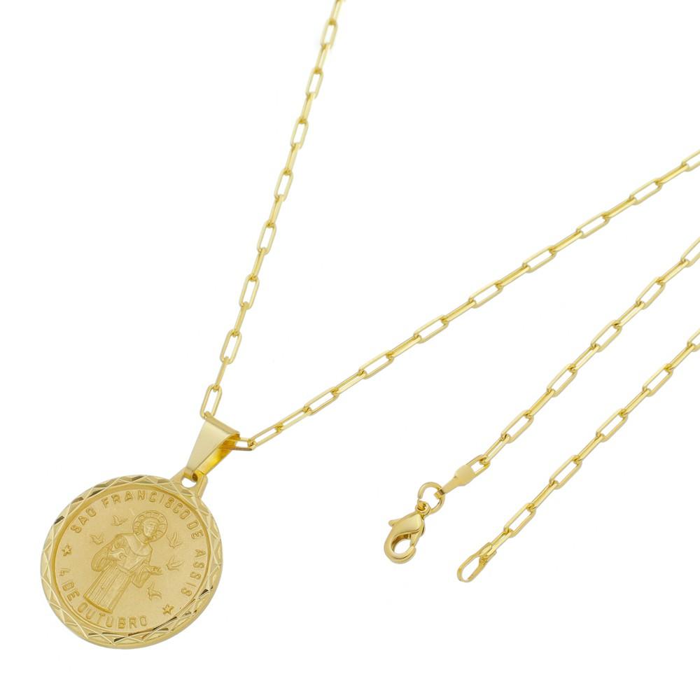 Medalha São Francisco de Assis com Corrente Francesa Longa Folheada a Ouro