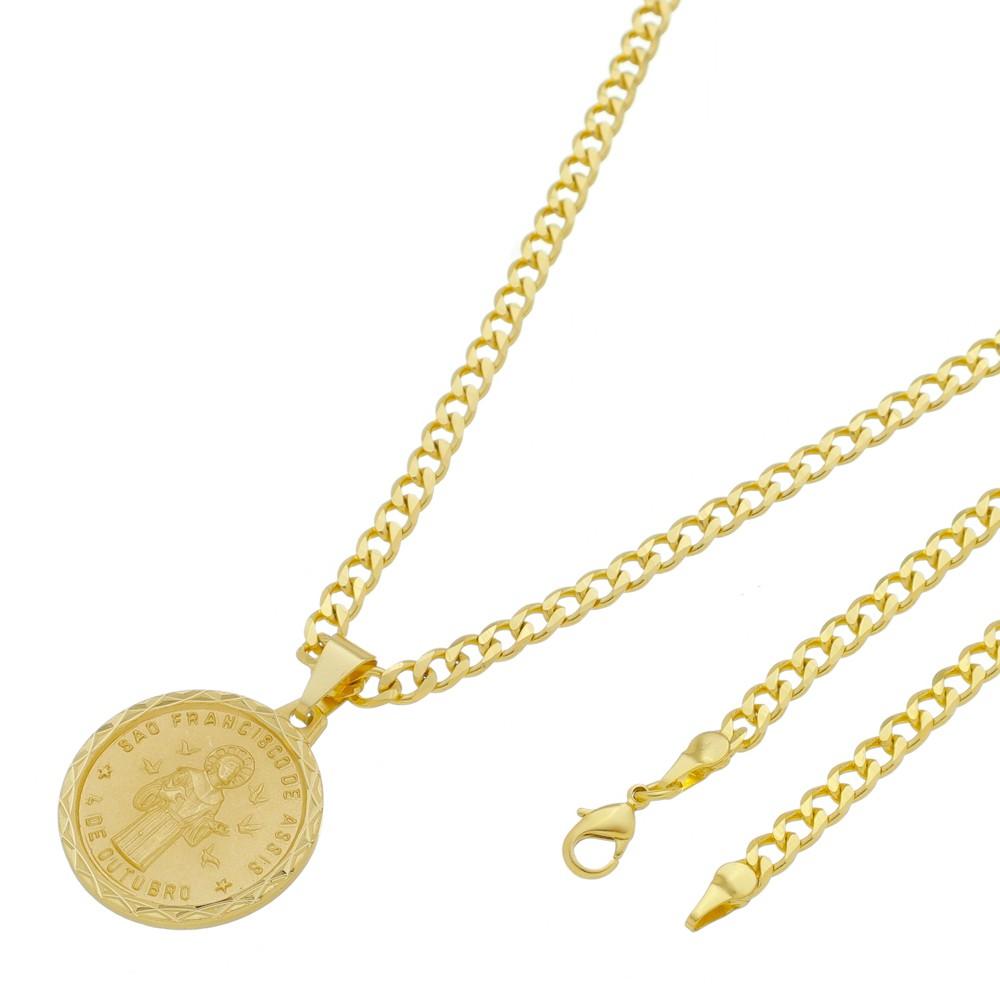 Medalha São Francisco de Assis com Corrente Grumet 5mm Folheada a Ouro