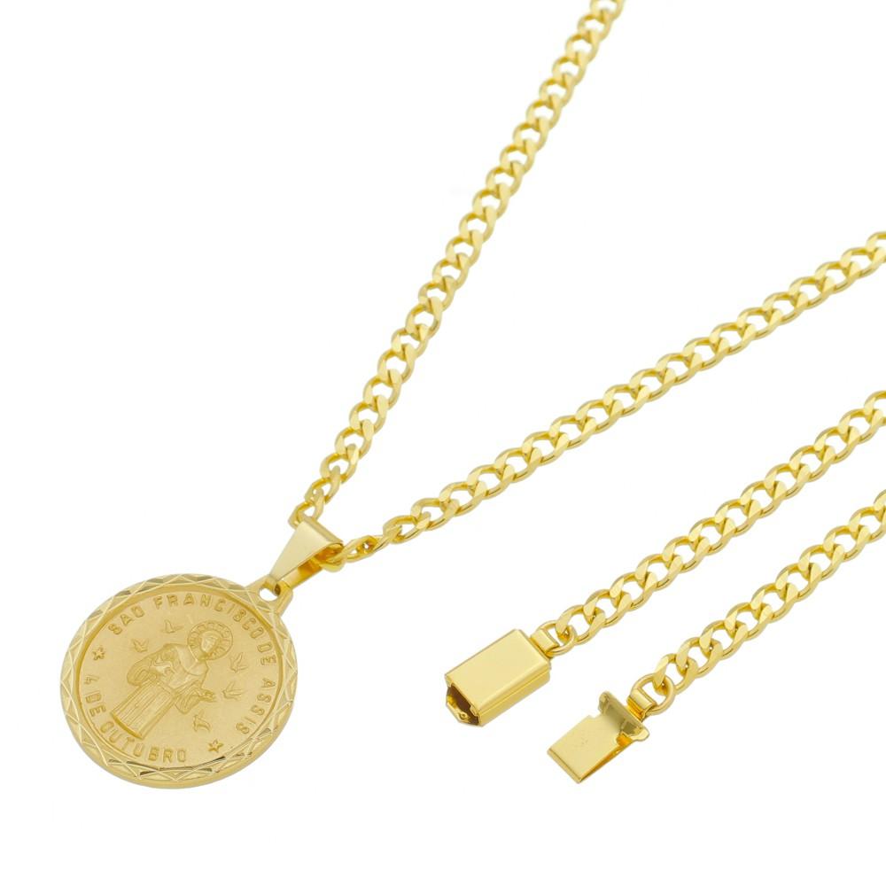 Medalha São Francisco de Assis com Corrente Grumet 5mm Gaveta Folheada a Ouro