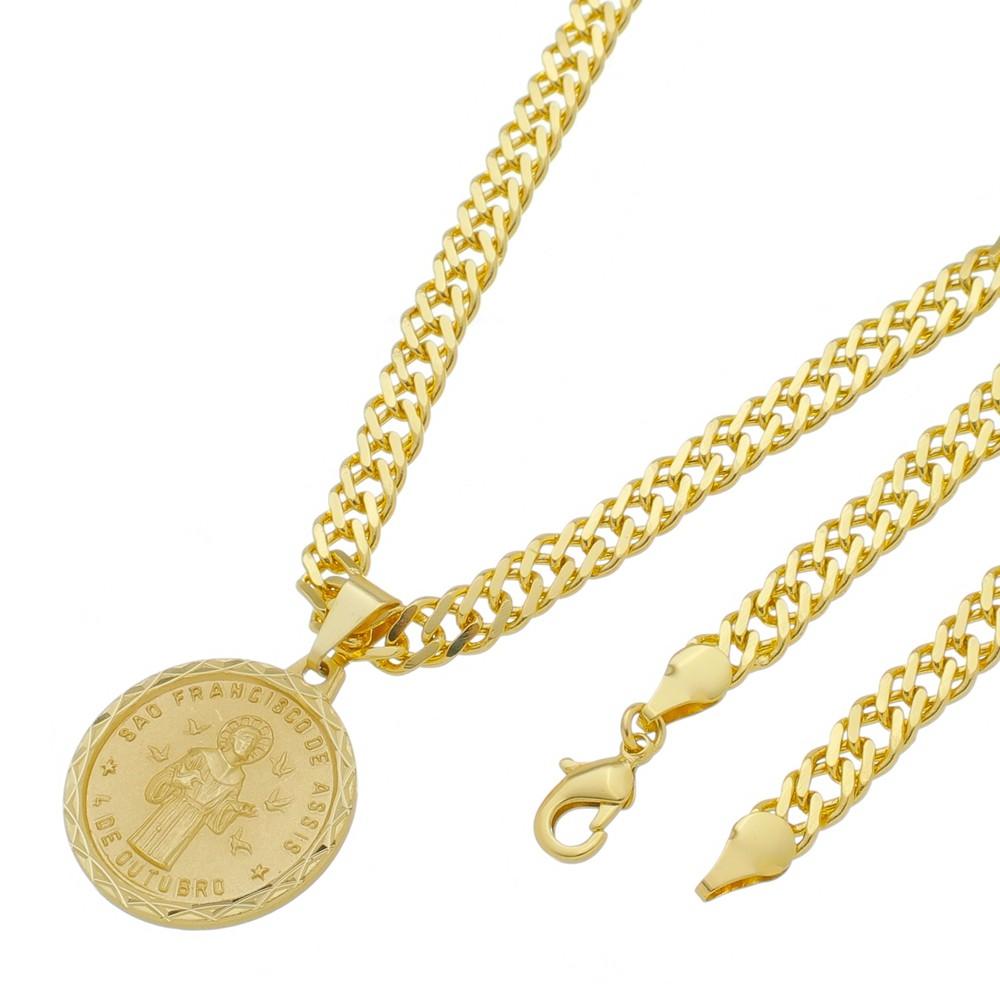 Medalha São Francisco de Assis com Corrente Grumet Dupla Grossa Folheada a Ouro