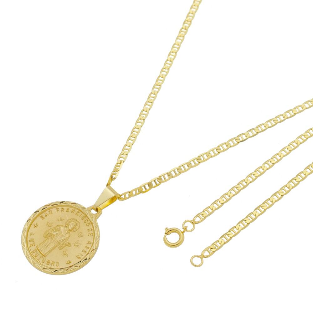 Medalha São Francisco de Assis com Corrente Italiana Folheada a Ouro