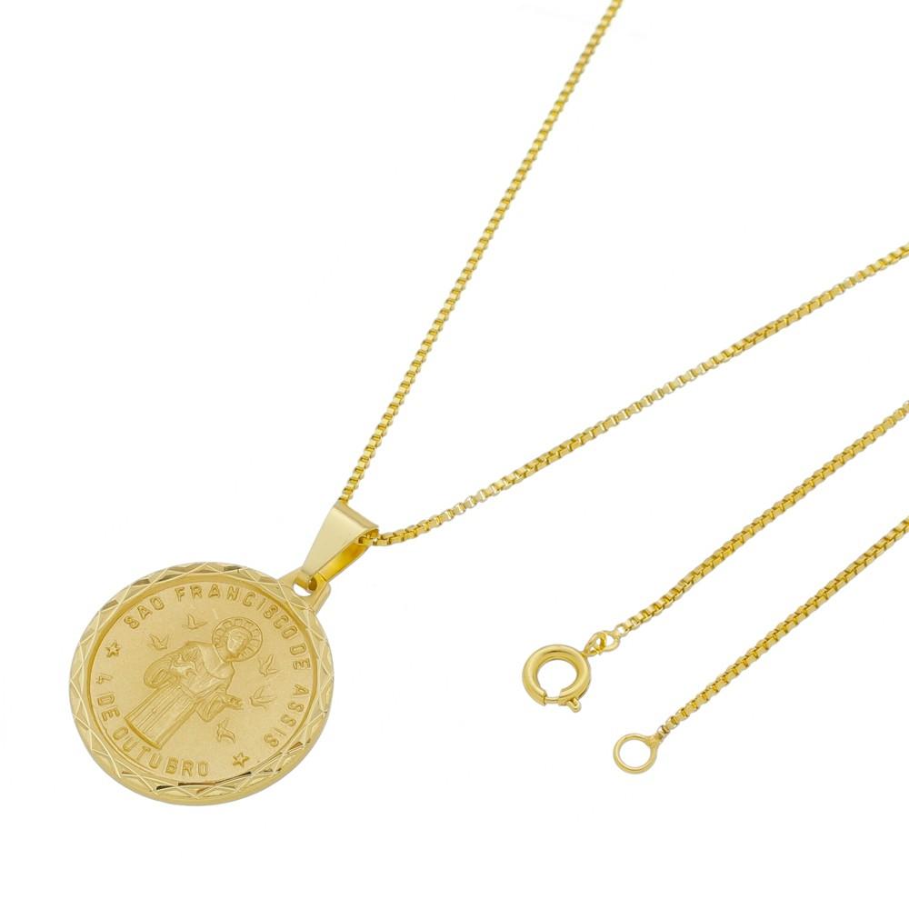 Medalha São Francisco de Assis com Corrente Veneziana Folheada a Ouro