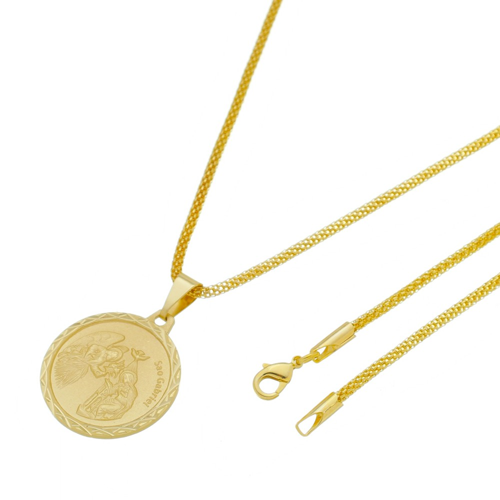 Medalha São Gabriel com Corrente Rede Folheada a Ouro
